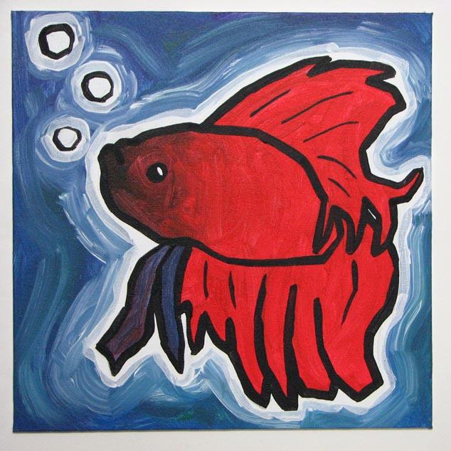 Betta fish ali spagnola 39 s free paintings for Betta fish mirror