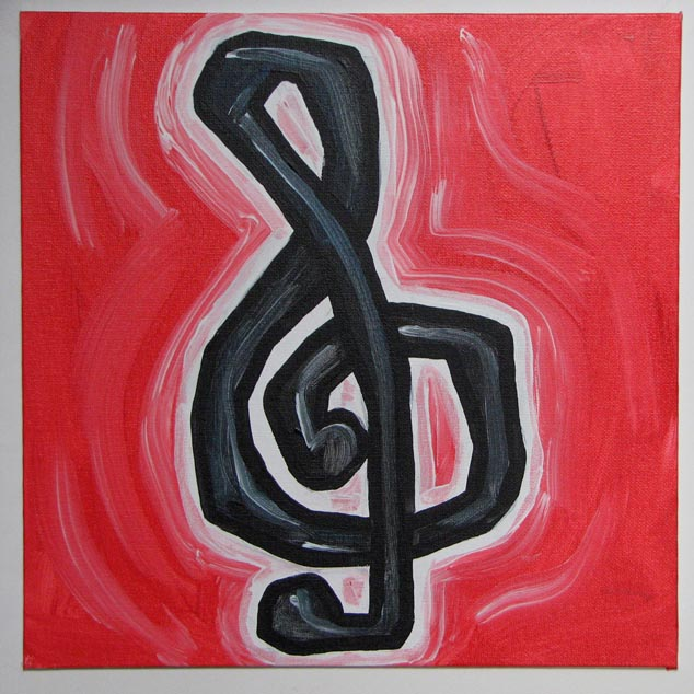 the third G clef i've painted. this one looks like he's struggling to fit