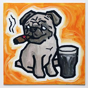 Pug Smoking Cigar With Guinness