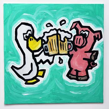 Duck And Pig Drinking Beer