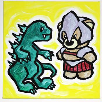 Godzilla Fighting Gladiator Bear