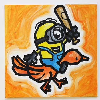 Minion With Bat Riding Orange Bird
