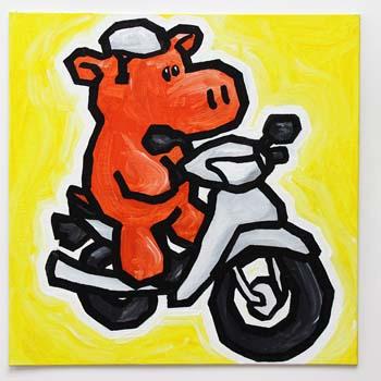 Hippo On Motorbike