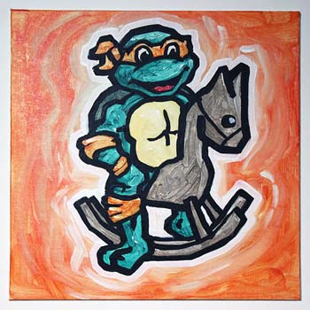 Teenage Mutant Ninja Turtle On Rocking Horse