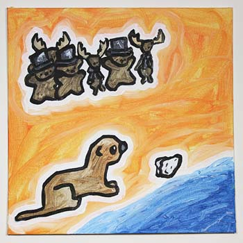 Otter Chasing Oyster On A Beach While A Crowd Of Bears In Top Hats And Deer In Tuxedos Watch