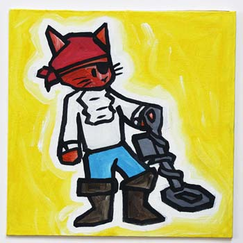 Pirate Cat With Metal Detector
