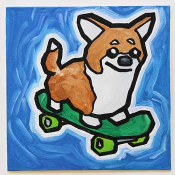 Corgi On Skateboard