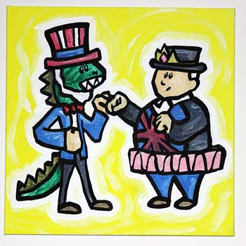 Dinosaur Uncle Sam Fighting Princess John Bull
