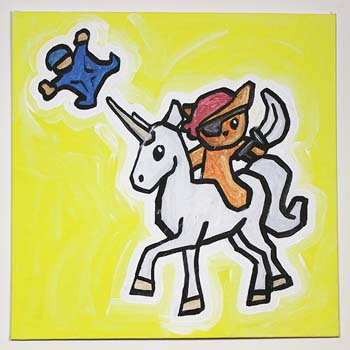 Pirate Cat Riding Unicorn With Man In Wingsuit
